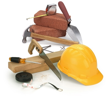 tools and construction materials on white